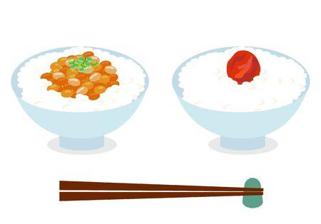 Natto rice and Umeboshi rice set
