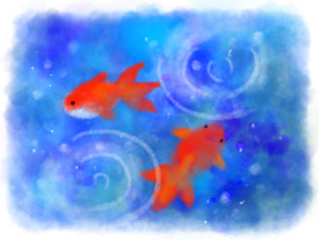 Watercolor goldfish and blue abstract background Foto de archivo - 151344239