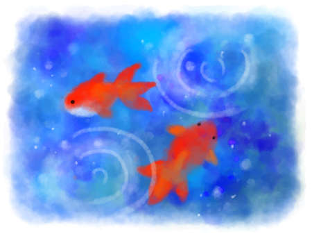 Vector illustration of watercolor goldfish and blue abstract background Foto de archivo - 151355267