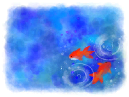 Vector illustration of watercolor goldfish and blue abstract background
