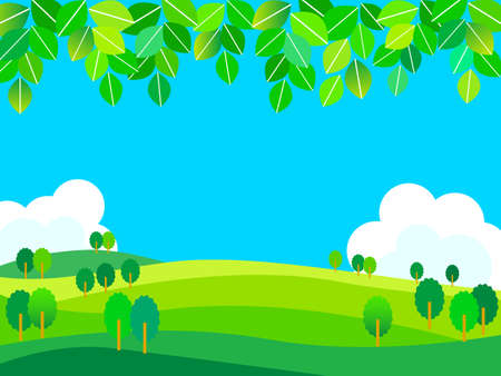Summer meadow and horizon background illustration