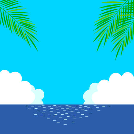 Background illustration of sea and palm trees  イラスト・ベクター素材