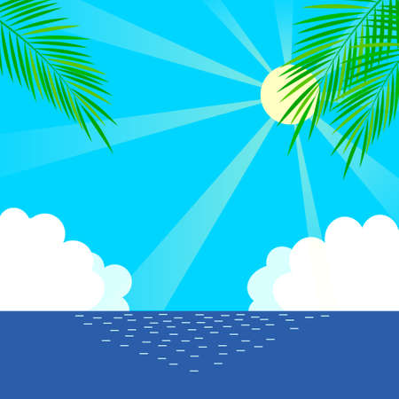 Palm trees, the sea and the sun background illustration