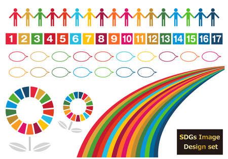 Icon and callout set 2 for SDGs (with specified color use, RGB, specified color swatch)