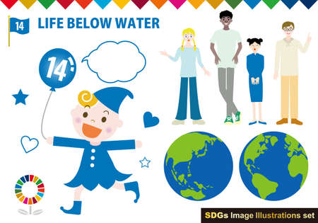 SDGs CMYK Specified Color (with Swatch) Person Illustration Set  イラスト・ベクター素材