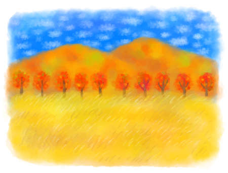 Pastel color illustration of autumn scenery