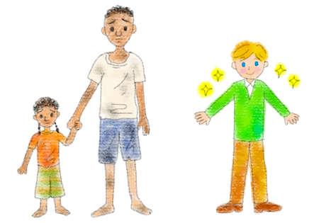 Pastel illustration set of the gap between poor and wealthy children