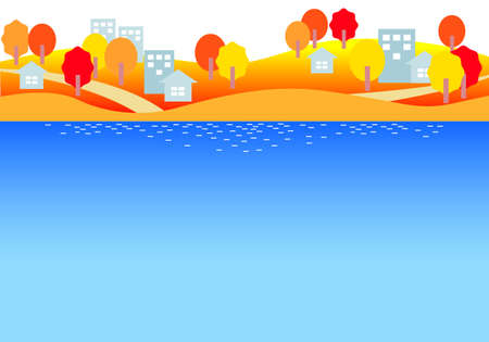 Simple illustration of the seaside streets in autumn