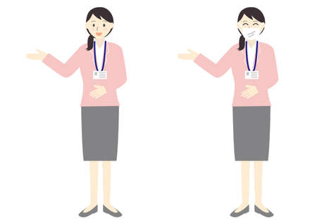 Flat illustration set of the woman of the suit to guide and introduce