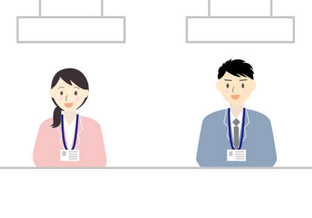Men's and women's flat illustration set at the reception desk