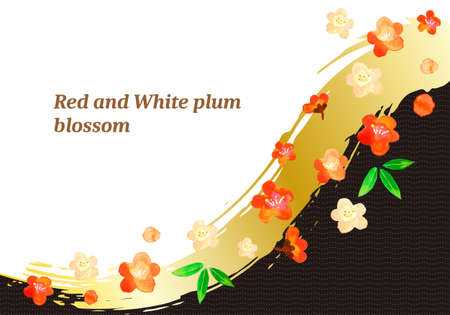 Red and white plum blossoms and black background illustrations of watercolors