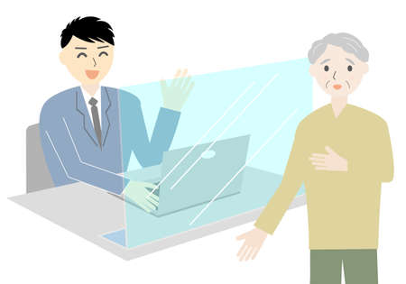 Flat illustration of an elderly person consulting at the window (no mask)