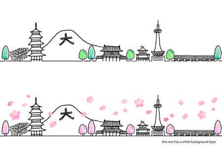 Simple handwritten spring cityscape line art set in Kyoto / pink