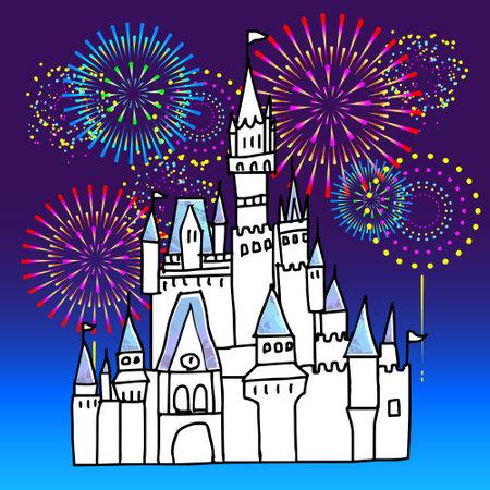 Cinderella castle and fireworks handwritten line drawing illustration