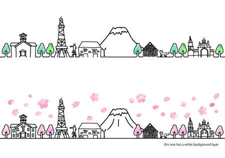 Horizontal illustration set of streets in Hokkaido in spring