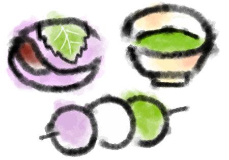 Japanese sweets and matcha ink painting illustration set