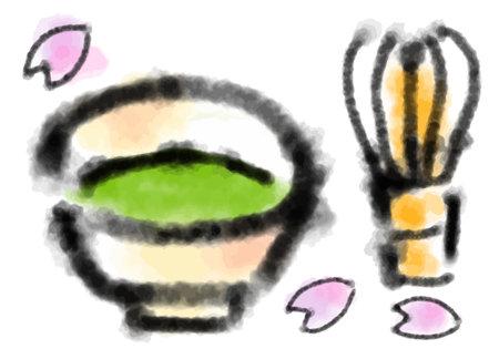 Matcha and ç… Ink Painting Illustration Ilustrace