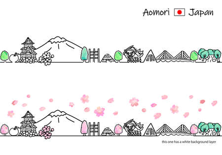 Simple line drawing illustration set of aomori townscape in spring