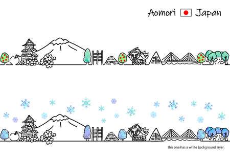 Aomori cityscape simple line drawing illustration set in winter