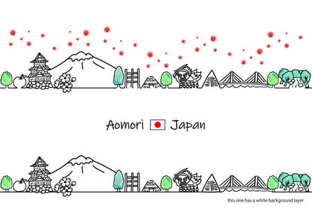Aomori cityscape and new coronavirus line drawing illustration set