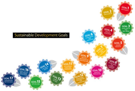 SDGs 17 Goals CMYK Designated Color Flower and Leaf Icon Set (English)