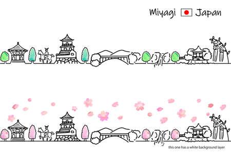 A simple line drawing set of the cityscape of Miyagi in spring