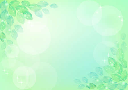 Green abstract background with watercolor leaves