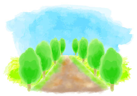 Watercolor illustration of green tree-lined road Stockfoto - 168130187