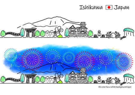 A simple line drawing set of streets and fireworks in Ishikawa Prefecture Vektorové ilustrace