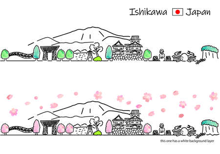 A simple line drawing set of the cityscape of Ishikawa Prefecture in Japan in spring Vektorové ilustrace