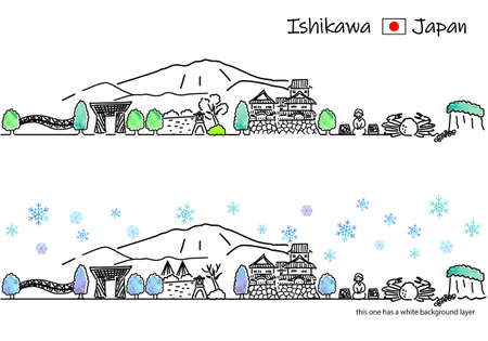 A simple line drawing set of the cityscape of Ishikawa Prefecture in Japan in winter