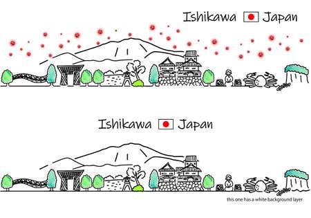 Simple line drawing set of cityscape and new coronavirus in Ishikawa Prefecture, Japan