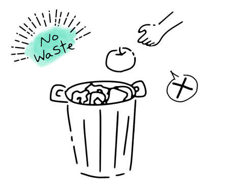 Simple illustration of garbage and trash can