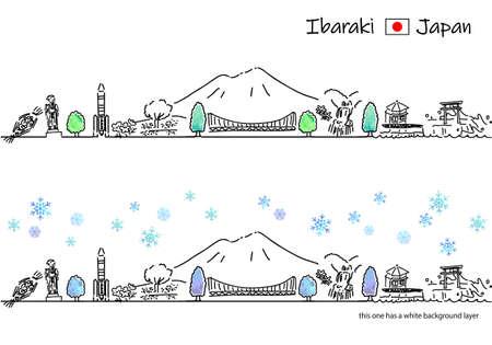 hand drawing cityscape IBARAKI in Winter