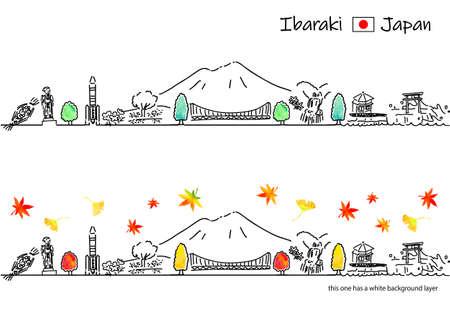 hand drawing cityscape IBARAKI in Autumn Vettoriali