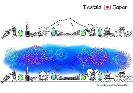 hand drawing cityscape IBARAKI and fireworks Vettoriali