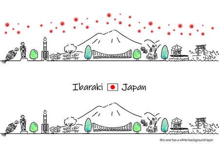 hand drawing cityscape IBARAKI with covid-19