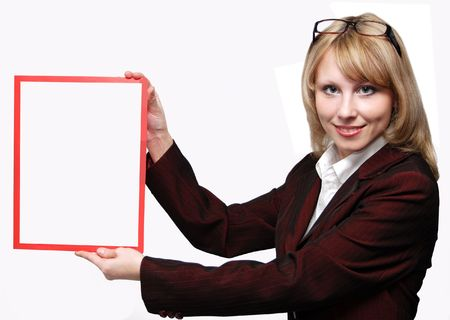 Business Woman holding a banner add isolated over a white background     photo