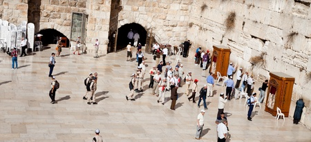 JERUSALEM - NOVEMBER 8: People pray at the Western Wall on Nov. 8, 2010 in Jerusalem, Israel. Stock Photo - 8321785