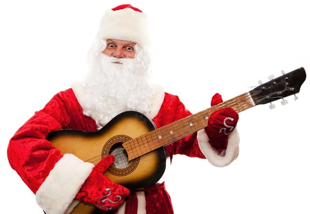 Close up of Santa Claus with a guitar isolated on white photo