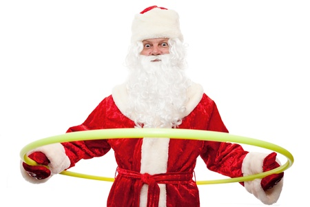 Close up of Santa Claus with a hoop isolated on white Stock Photo - 8325852