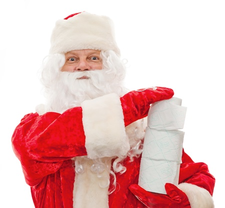 Close up of Santa Claus with toilet paper isolated on white photo
