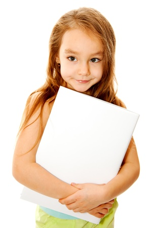 Girl and a banner Stock Photo - 8443452