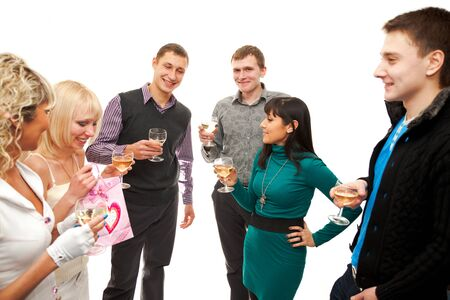 Three young couples with glasses of champagne at a party or celebration Stock Photo - 8537790