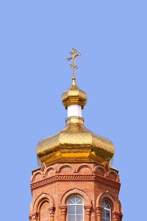 Gold copola. Christianity: orthodoxy church, cross. photo