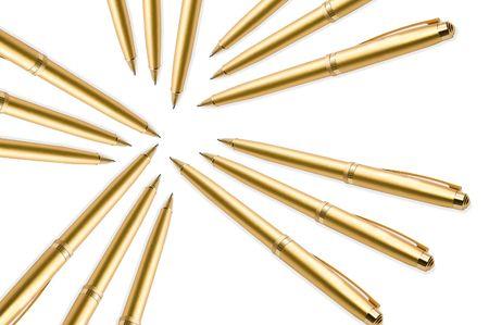 Gold pens on white background Stock Photo - 3375926