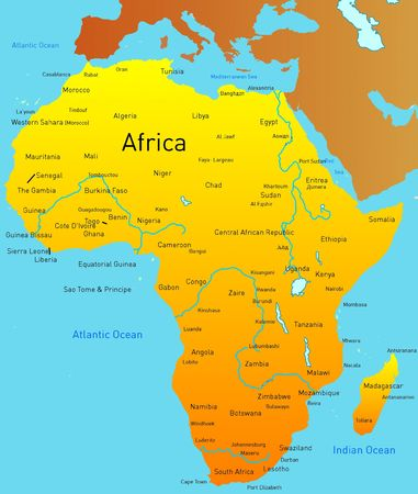 map of africa: Abstract map of africa continent