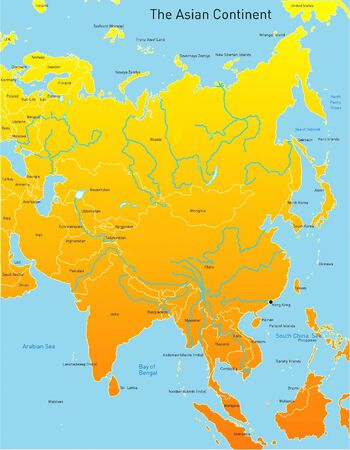 Abstract map of asian continent  photo