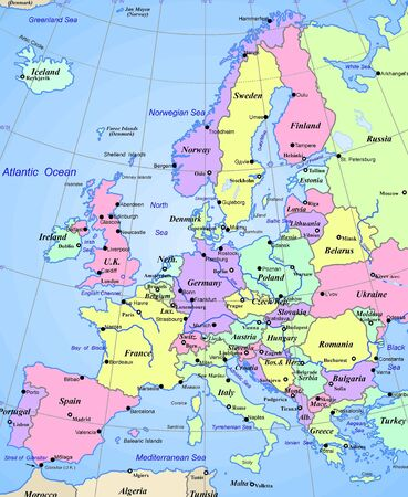 Abstract map of europe continent