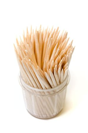Many toothpicks on white backround photo